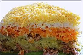 Салат «Мимоза» с картофелем и сайрой