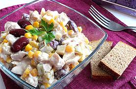 Курица с фасолью — новый рецепт салата