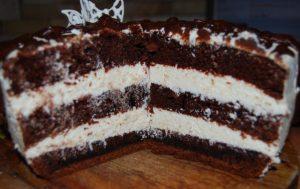 Торт. Шоколадный торт на кипятке за 30 минут