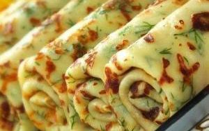 Сырные блины с зеленью
