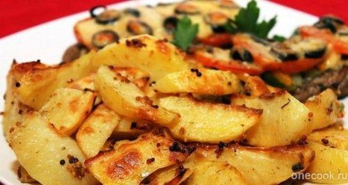 Картофельные ломтики с горчицей