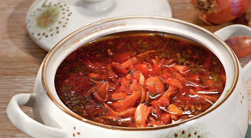 Постный борщ с грибами и фасолью рецепт с пошагово