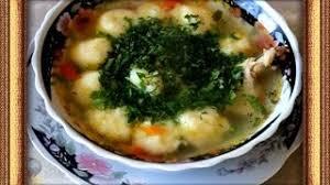 Суп с куриными крылышками и картофельными галушками