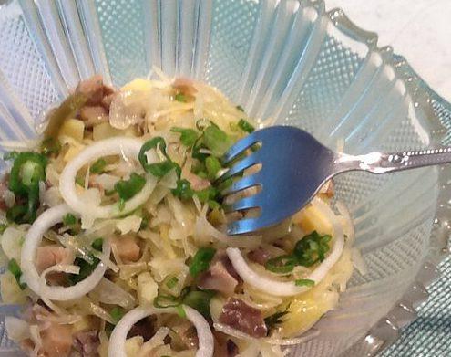 Папин салат (квашеная капуста с грибами)