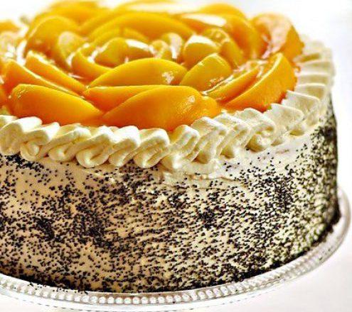 Маковый торт с абрикосами