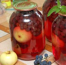 Компот из яблок с виноградом на зиму