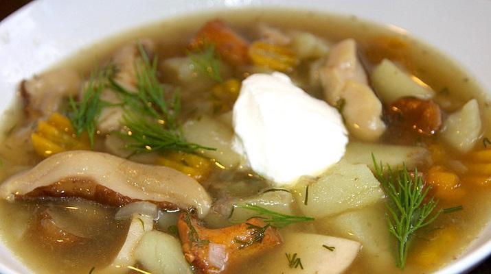 Суп «Строганов» с курицей и шампиньонами