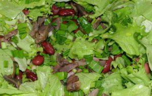 Салат с фасолью, черемшой и потрошками