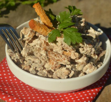 Салат с куриными сердечками и печенью