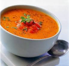 Суп-пюре из запеченной тыквы и томатов