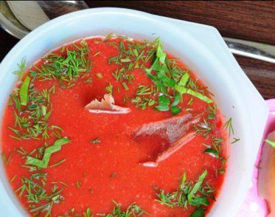 «Красный бархат» суп-пюре с чечевицей и свеклой