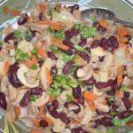 Теплый салат с фасолью и грибами