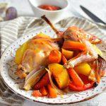Ножки кролика с овощами в духовке