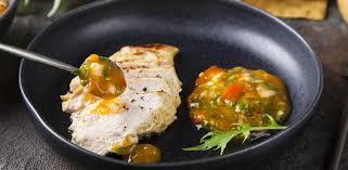 Соус из хурмы и куриное филе в специях