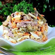 Салат из сердца с грибами