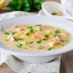 Сливочный суп с картофелем и лососем