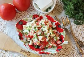 Салат с крабовыми палочками (или креветками) и фетой