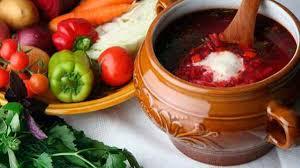 Борщ с томатной заправкой и болгарским перцем