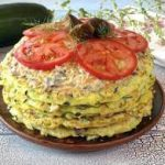 Кабачковый торт с грибами и сыром
